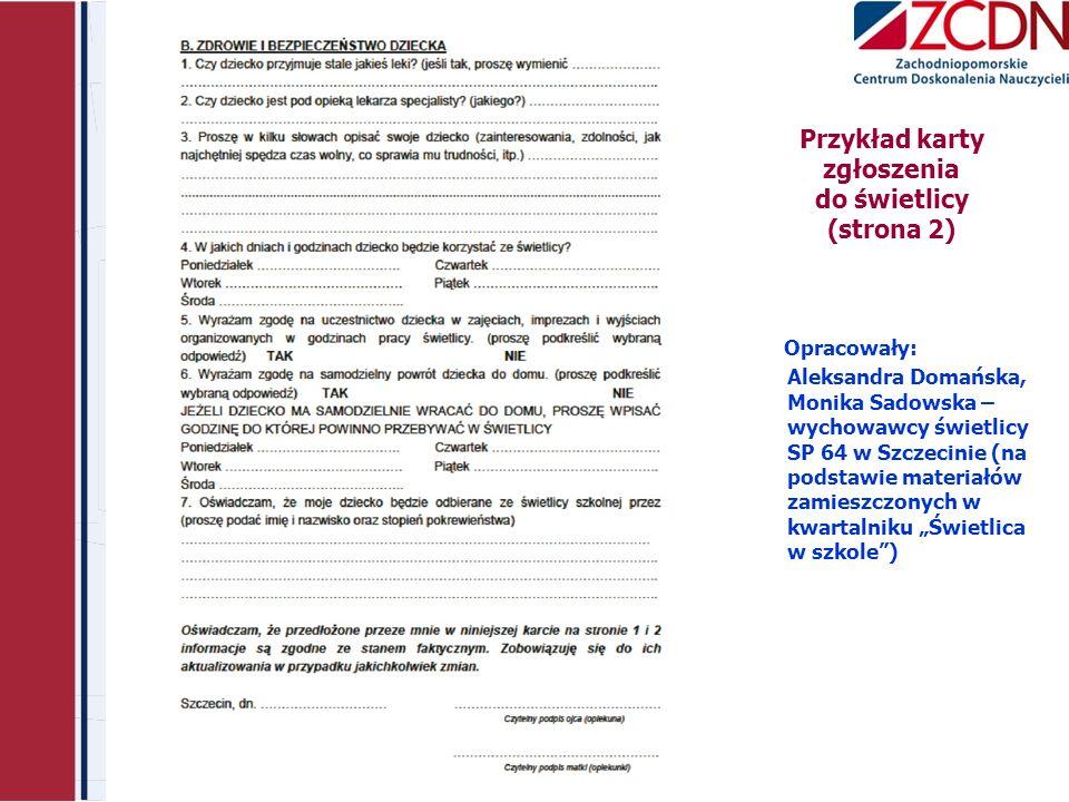 Przykład karty zgłoszenia do świetlicy (strona 2)