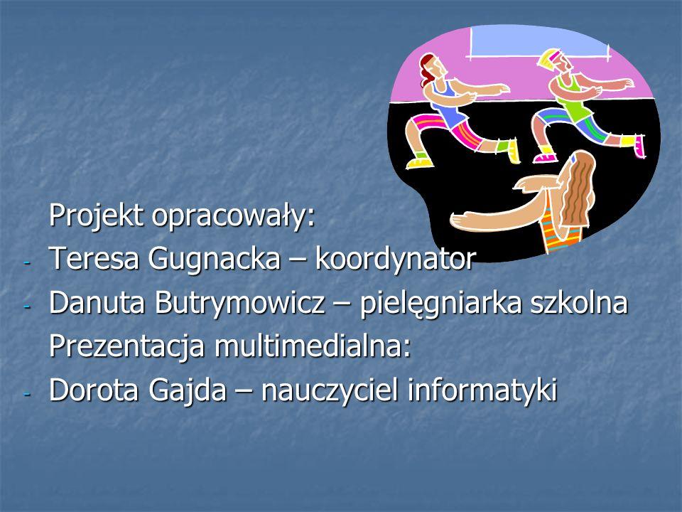 Projekt opracowały: Teresa Gugnacka – koordynator. Danuta Butrymowicz – pielęgniarka szkolna. Prezentacja multimedialna: