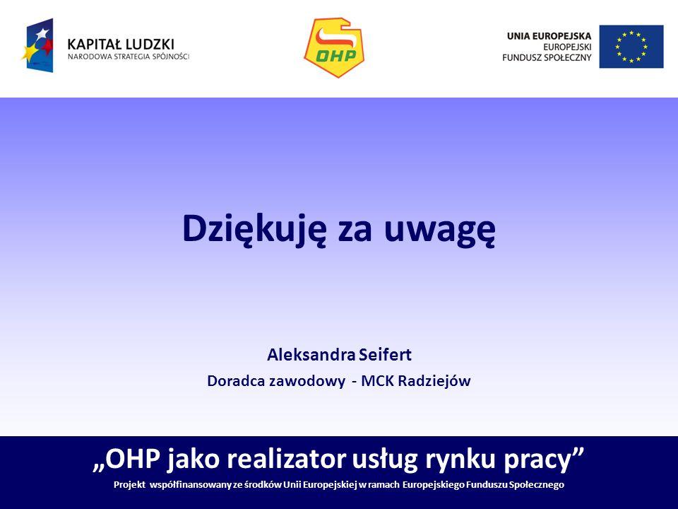 """Dziękuję za uwagę """"OHP jako realizator usług rynku pracy"""