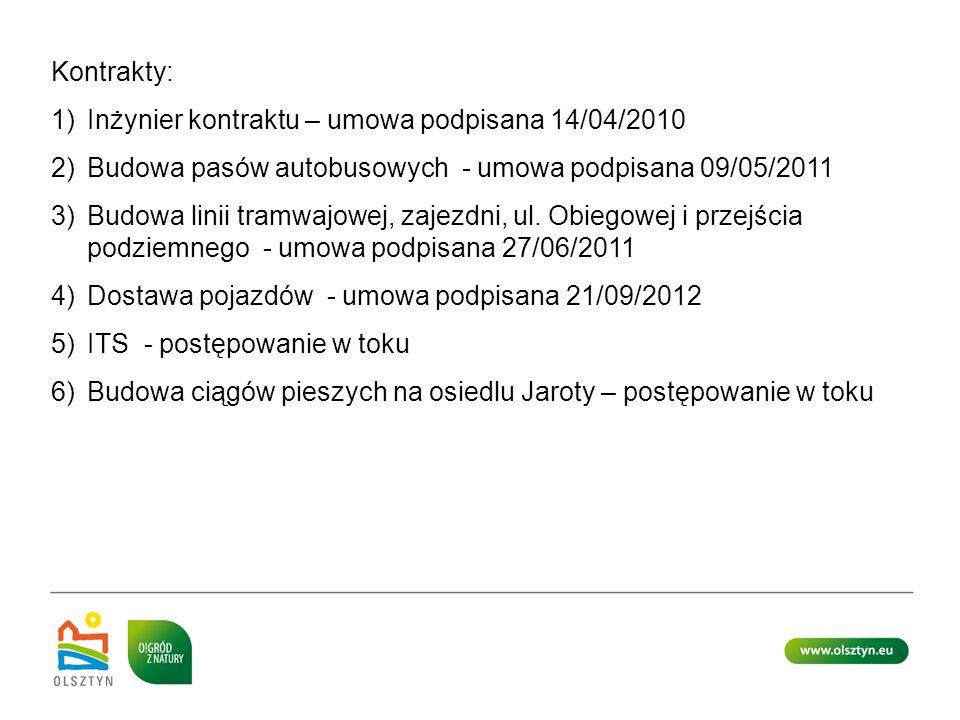 Kontrakty: Inżynier kontraktu – umowa podpisana 14/04/2010. Budowa pasów autobusowych - umowa podpisana 09/05/2011.