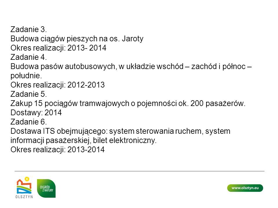 Zadanie 3. Budowa ciągów pieszych na os. Jaroty. Okres realizacji: 2013- 2014. Zadanie 4.