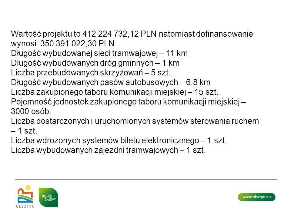 Wartość projektu to 412 224 732,12 PLN natomiast dofinansowanie wynosi: 350 391 022,30 PLN.