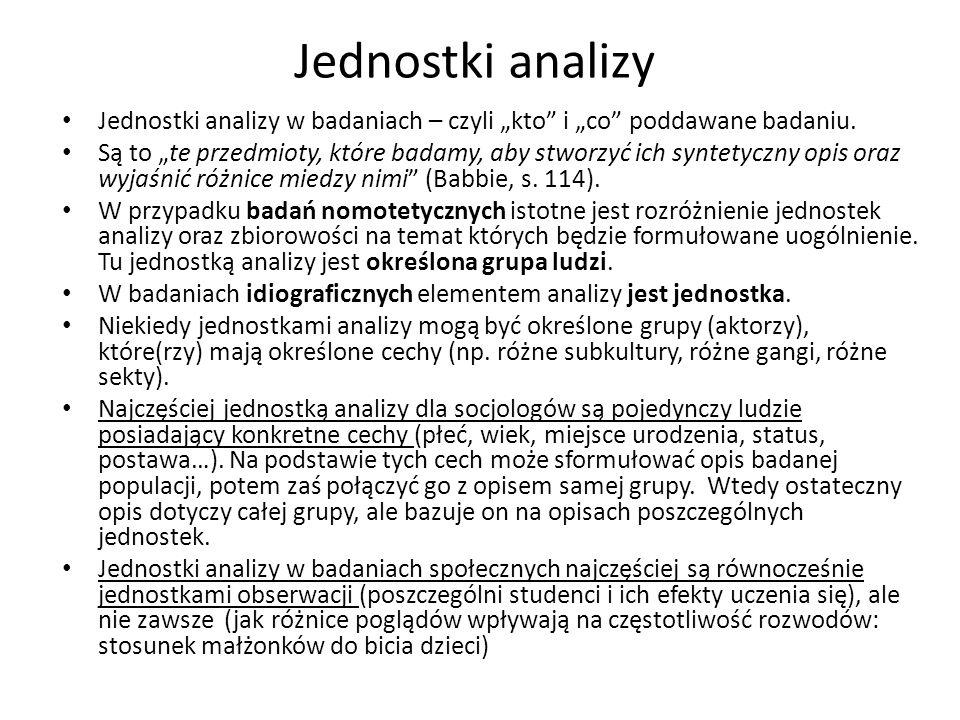 """Jednostki analizy Jednostki analizy w badaniach – czyli """"kto i """"co poddawane badaniu."""