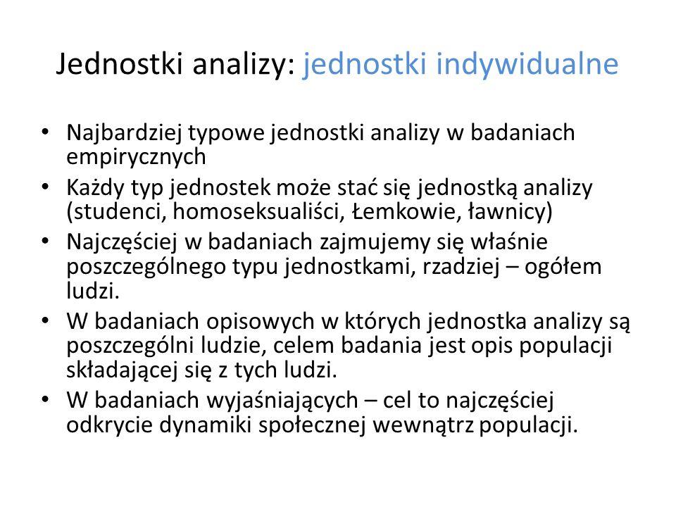 Jednostki analizy: jednostki indywidualne