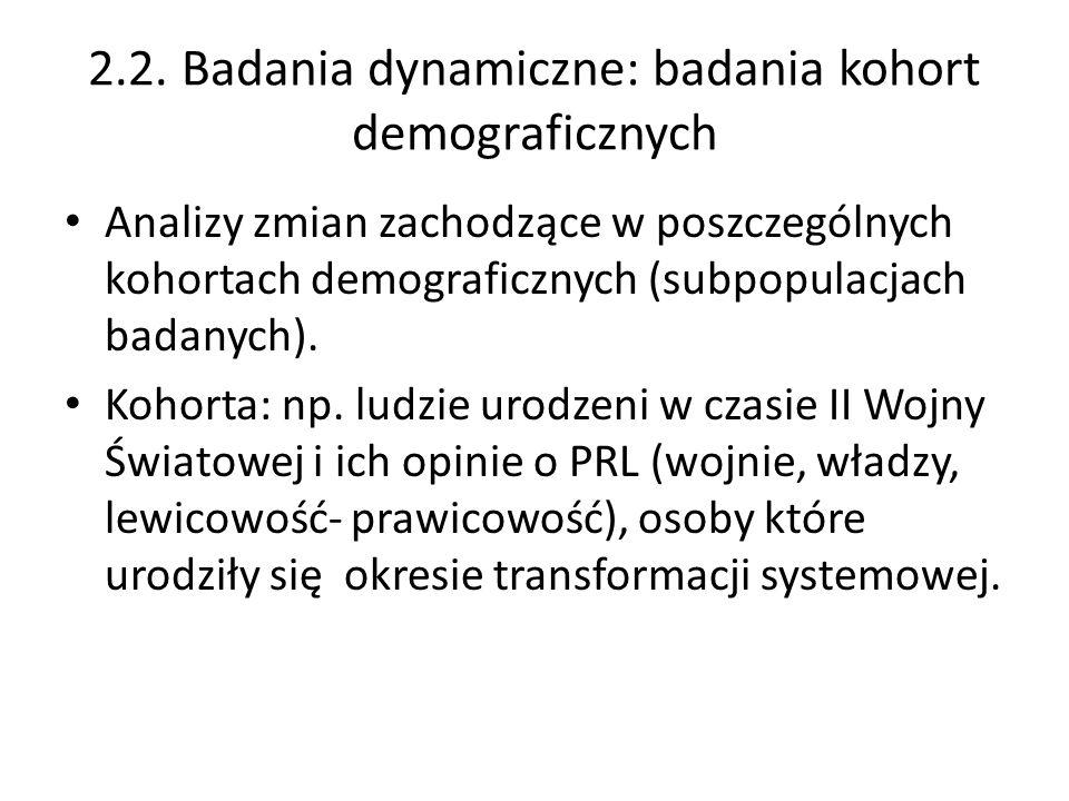 2.2. Badania dynamiczne: badania kohort demograficznych