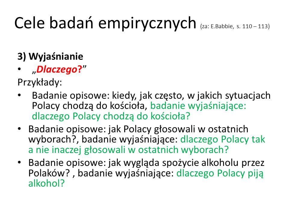 Cele badań empirycznych (za: E.Babbie, s. 110 – 113)