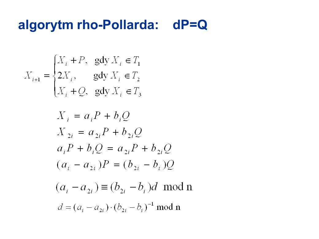 algorytm rho-Pollarda: dP=Q