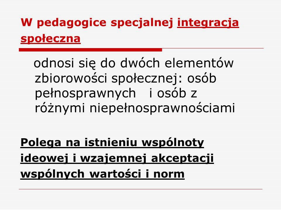 W pedagogice specjalnej integracja społeczna