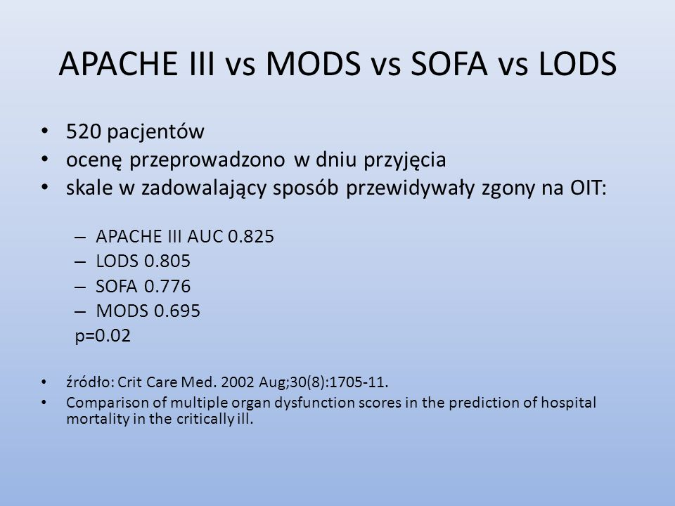 APACHE III vs MODS vs SOFA vs LODS
