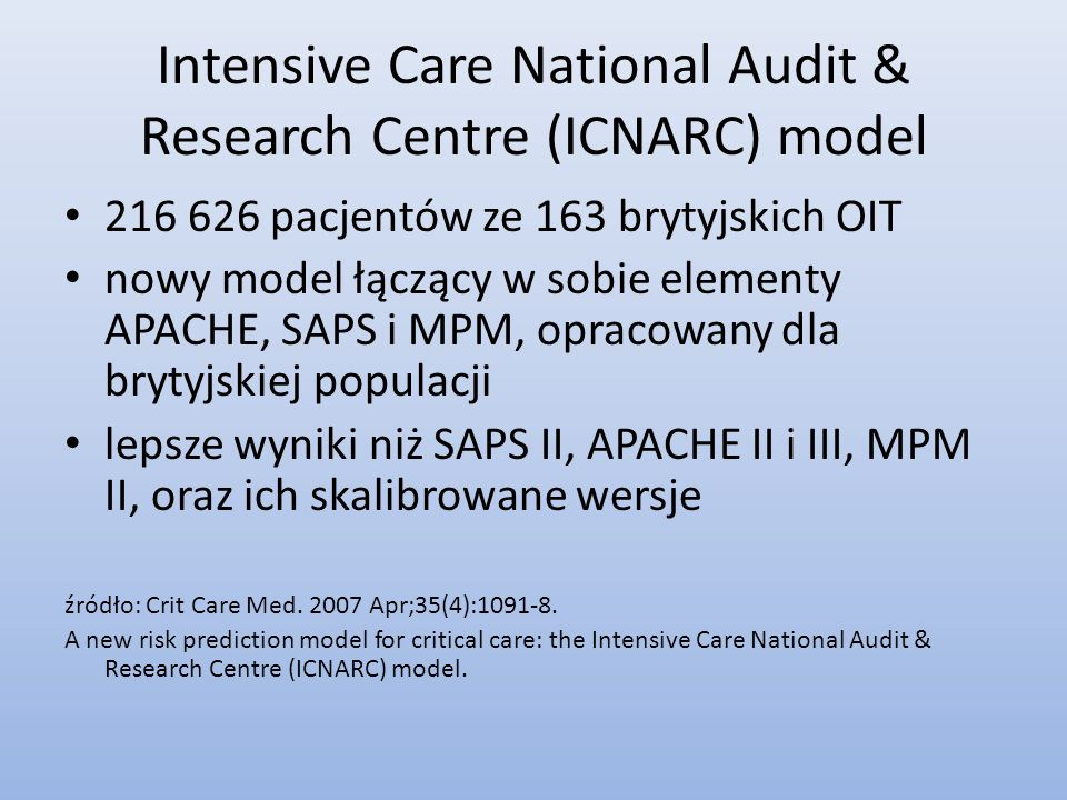 Intensive Care National Audit & Research Centre (ICNARC) model