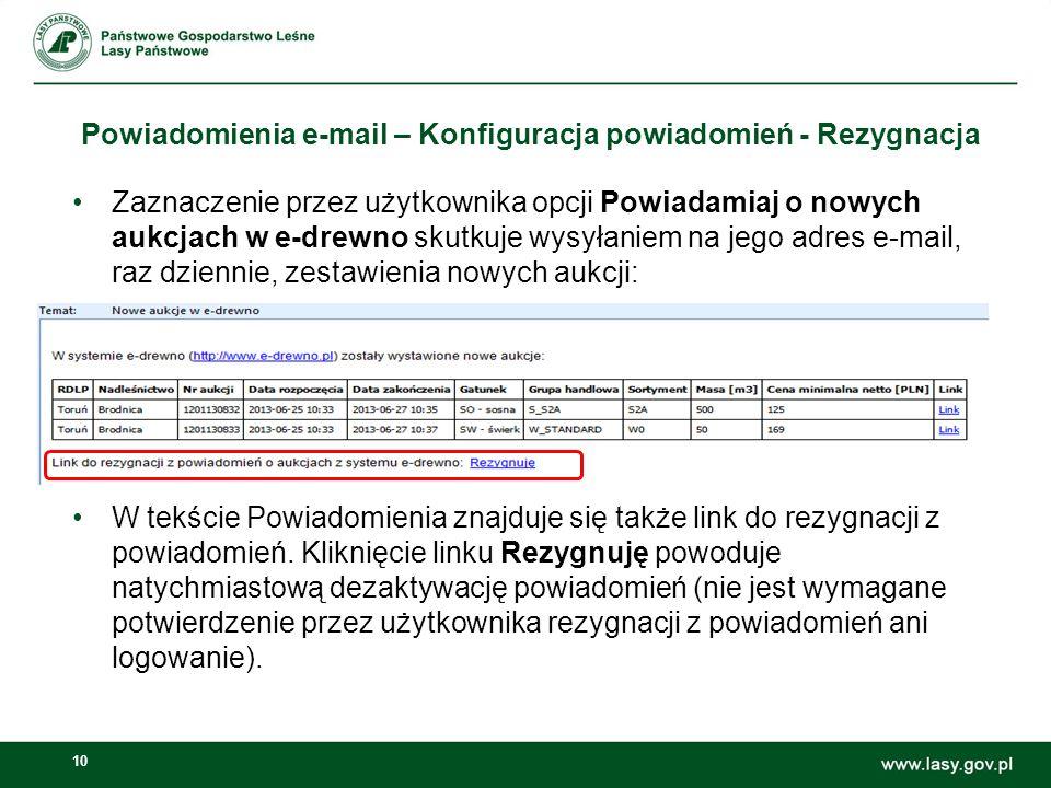 Powiadomienia e-mail – Konfiguracja powiadomień - Rezygnacja