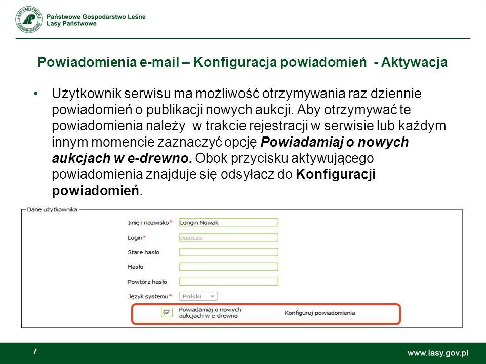 Powiadomienia e-mail – Konfiguracja powiadomień - Aktywacja
