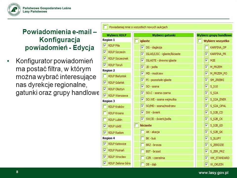 Powiadomienia e-mail – Konfiguracja powiadomień - Edycja