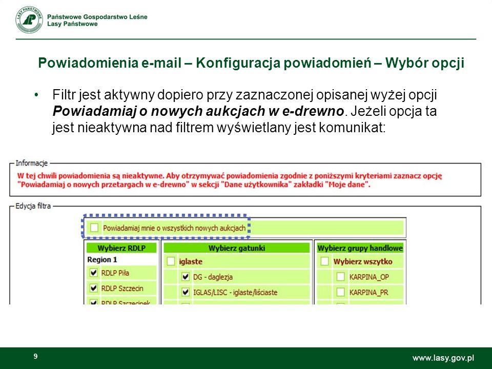 Powiadomienia e-mail – Konfiguracja powiadomień – Wybór opcji