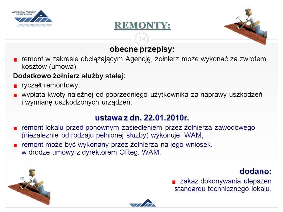 REMONTY: obecne przepisy: ustawa z dn. 22.01.2010r. dodano: