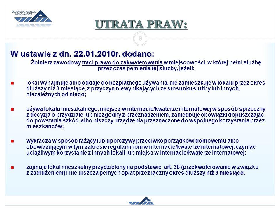 UTRATA PRAW: W ustawie z dn. 22.01.2010r. dodano: 9