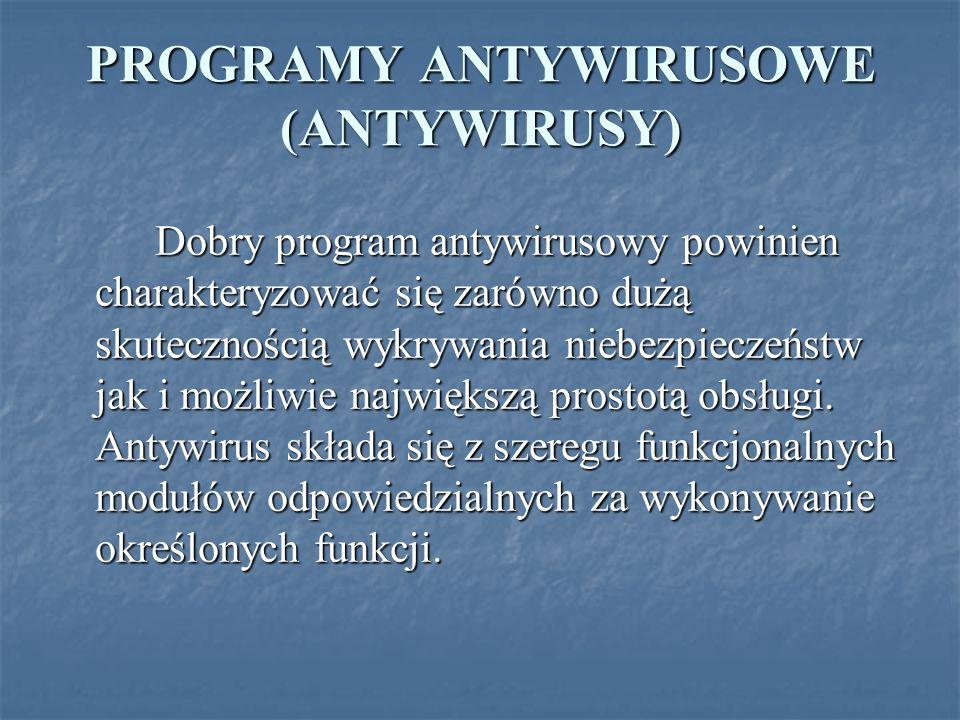 PROGRAMY ANTYWIRUSOWE (ANTYWIRUSY)