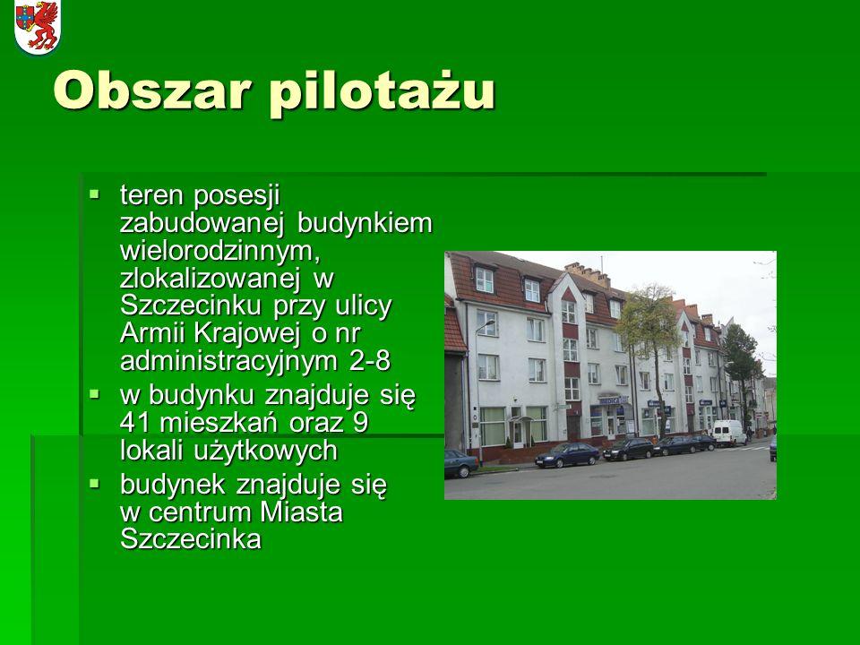 Obszar pilotażuteren posesji zabudowanej budynkiem wielorodzinnym, zlokalizowanej w Szczecinku przy ulicy Armii Krajowej o nr administracyjnym 2-8.