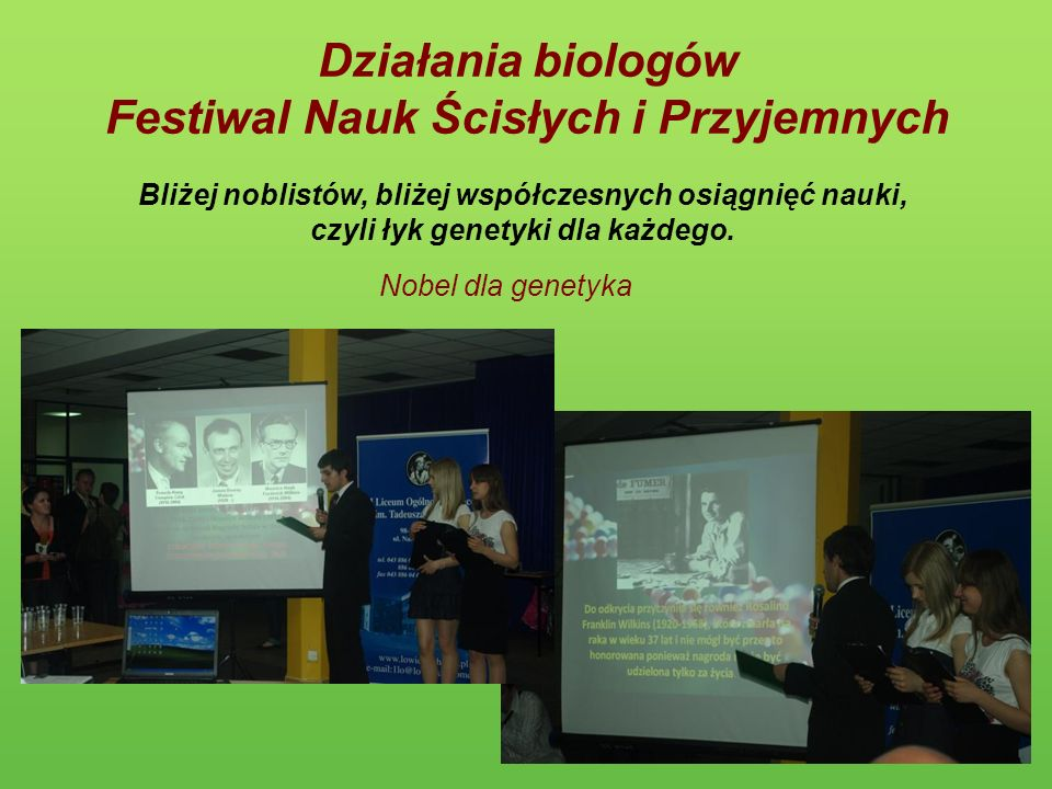 Działania biologów Festiwal Nauk Ścisłych i Przyjemnych