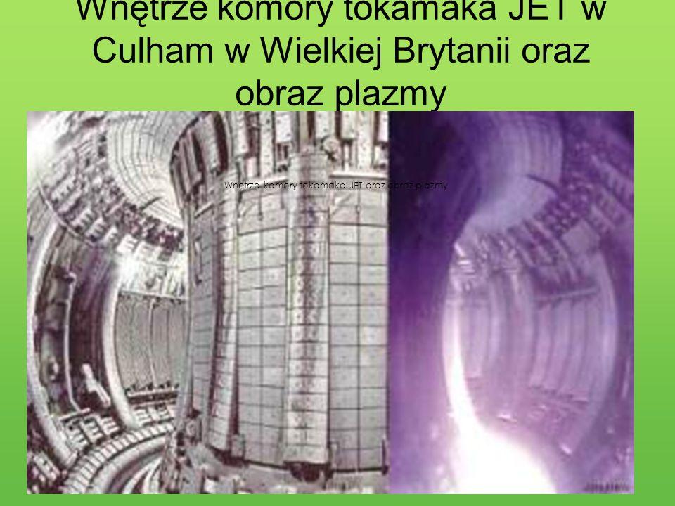 Wnętrze komory tokamaka JET oraz obraz plazmy