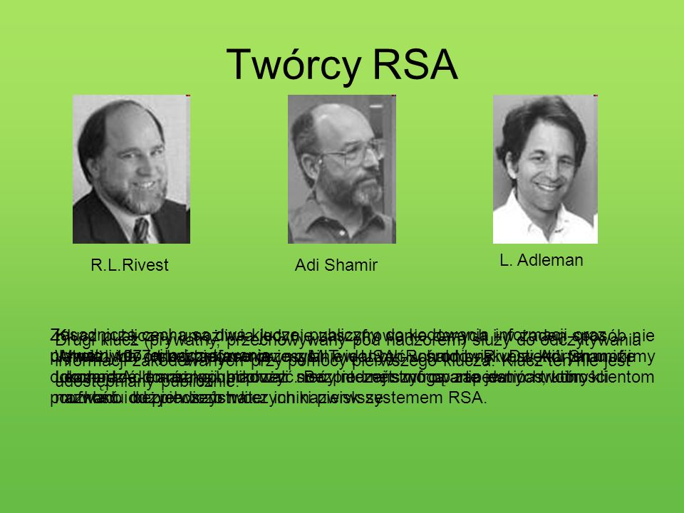 Twórcy RSA L. Adleman R.L.Rivest Adi Shamir