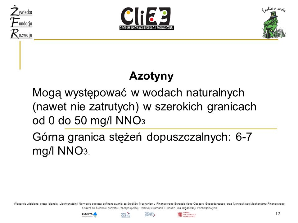Górna granica stężeń dopuszczalnych: 6-7 mg/l NNO3.