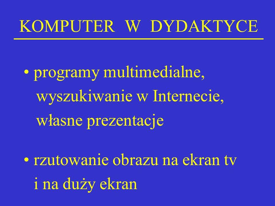 KOMPUTER W DYDAKTYCE programy multimedialne,