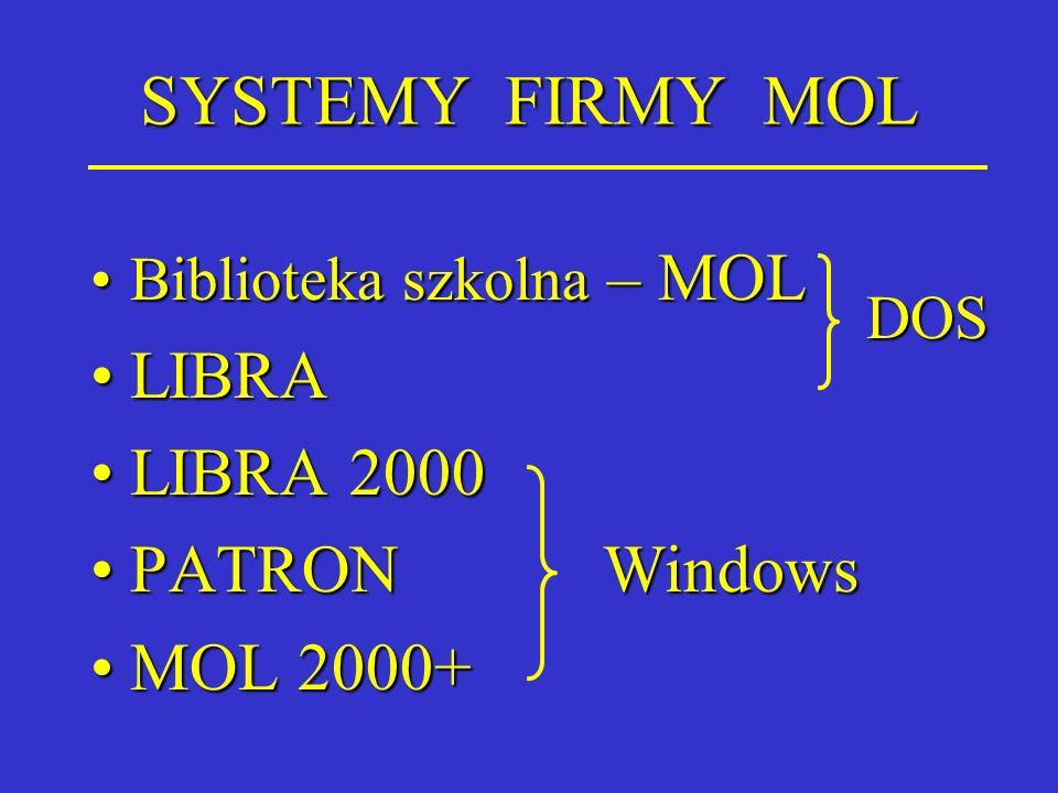 SYSTEMY FIRMY MOL LIBRA LIBRA 2000 PATRON Windows MOL 2000+