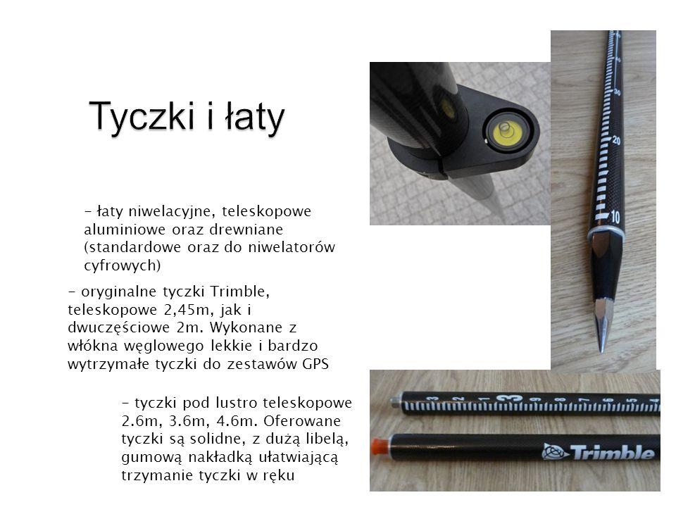 Tyczki i łaty - łaty niwelacyjne, teleskopowe aluminiowe oraz drewniane (standardowe oraz do niwelatorów cyfrowych)