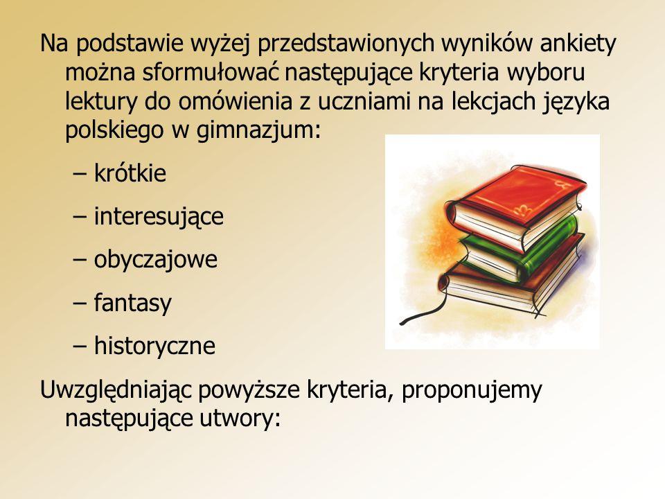 Na podstawie wyżej przedstawionych wyników ankiety można sformułować następujące kryteria wyboru lektury do omówienia z uczniami na lekcjach języka polskiego w gimnazjum: