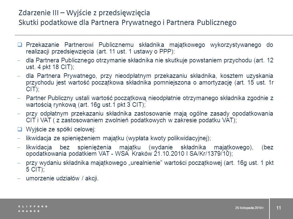 Zdarzenie III – Wyjście z przedsięwzięcia Skutki podatkowe dla Partnera Prywatnego i Partnera Publicznego