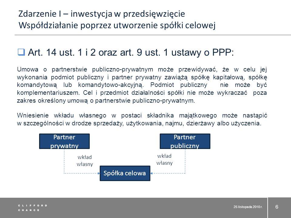 Art. 14 ust. 1 i 2 oraz art. 9 ust. 1 ustawy o PPP: