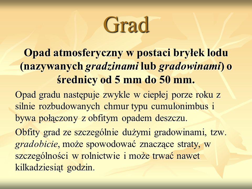 Grad Opad atmosferyczny w postaci bryłek lodu (nazywanych gradzinami lub gradowinami) o średnicy od 5 mm do 50 mm.