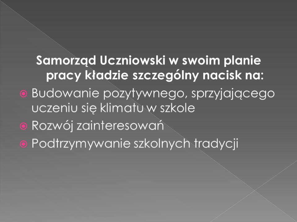 Samorząd Uczniowski w swoim planie pracy kładzie szczególny nacisk na: