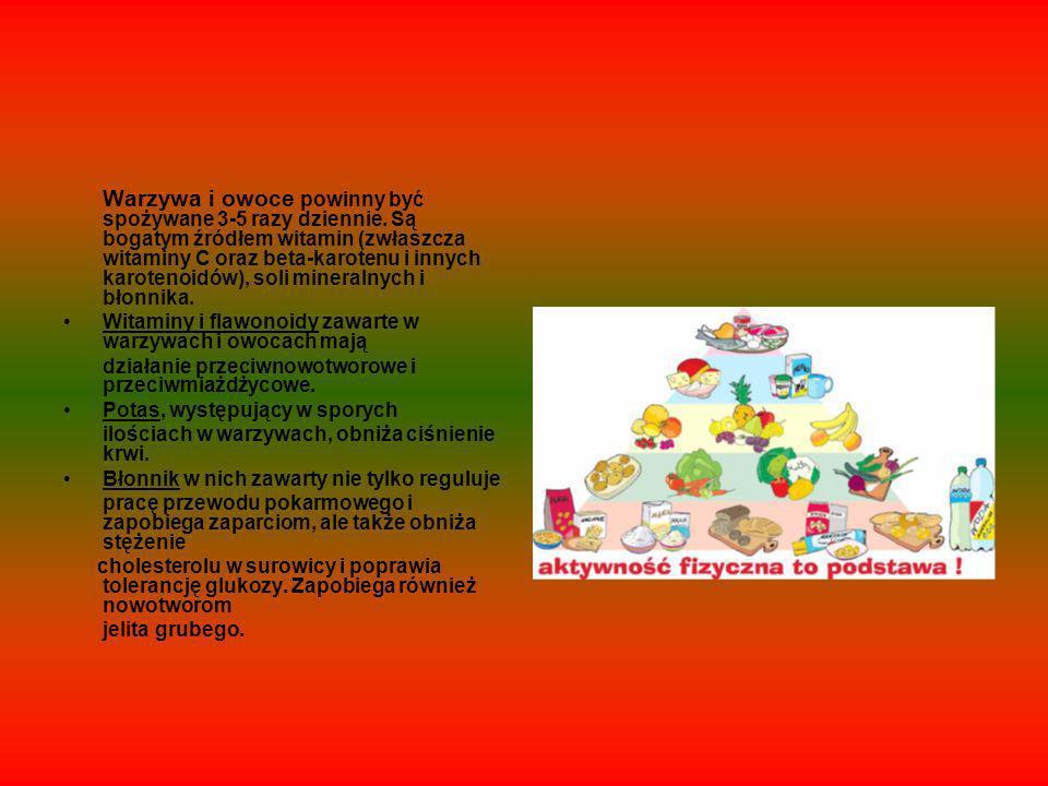 Warzywa i owoce powinny być spożywane 3-5 razy dziennie