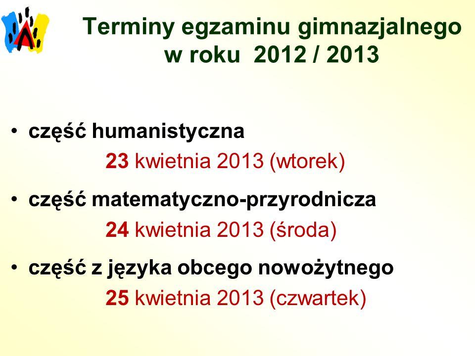 Terminy egzaminu gimnazjalnego w roku 2012 / 2013