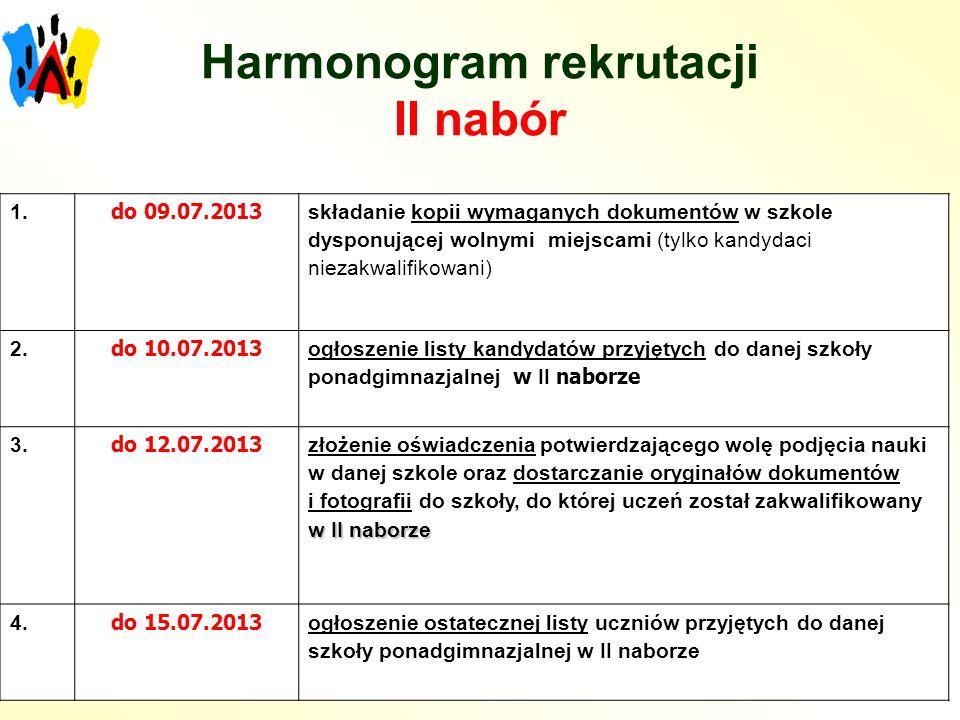 Harmonogram rekrutacji II nabór