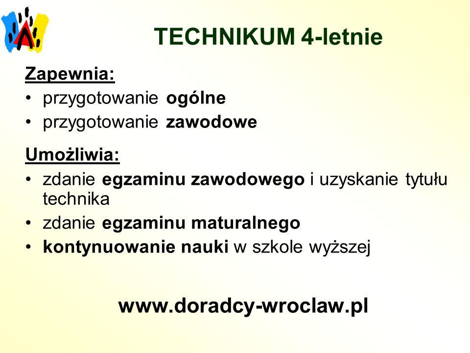 TECHNIKUM 4-letnie www.doradcy-wroclaw.pl Zapewnia: