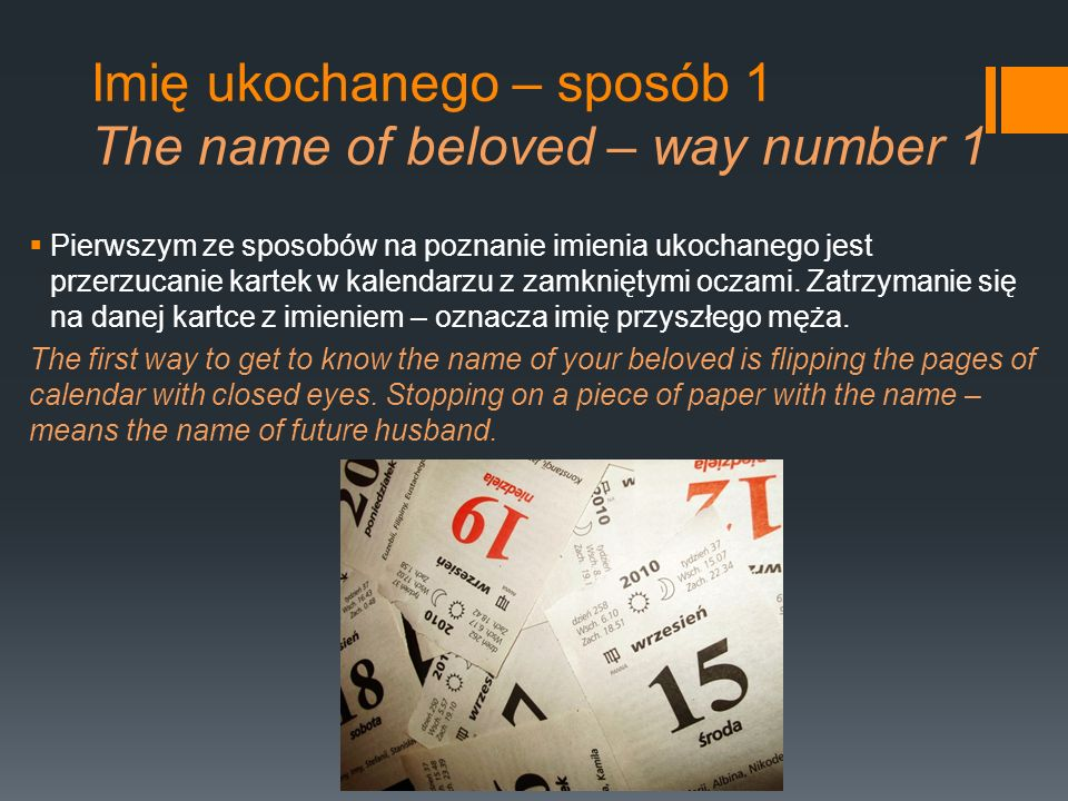 Imię ukochanego – sposób 1 The name of beloved – way number 1