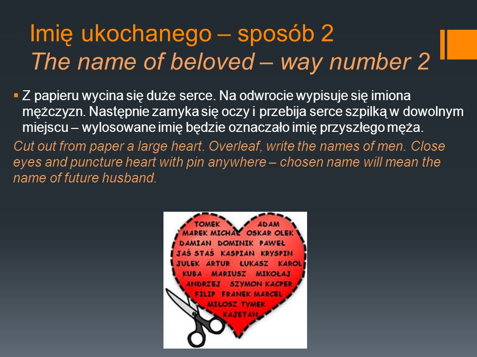Imię ukochanego – sposób 2 The name of beloved – way number 2