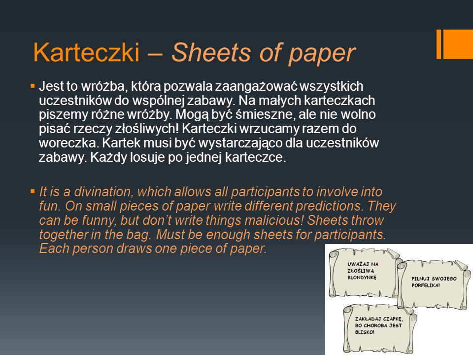 Karteczki – Sheets of paper