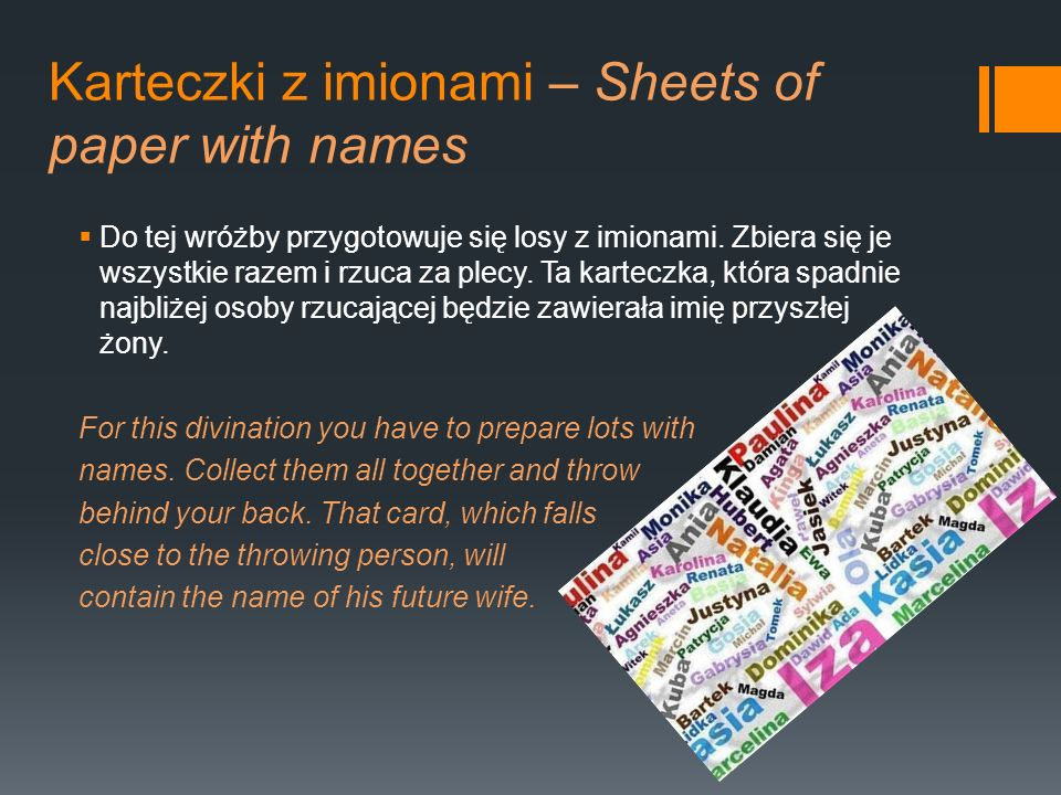 Karteczki z imionami – Sheets of paper with names
