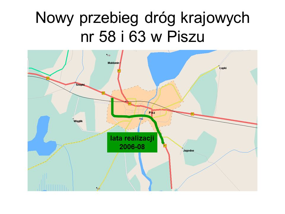 Nowy przebieg dróg krajowych nr 58 i 63 w Piszu