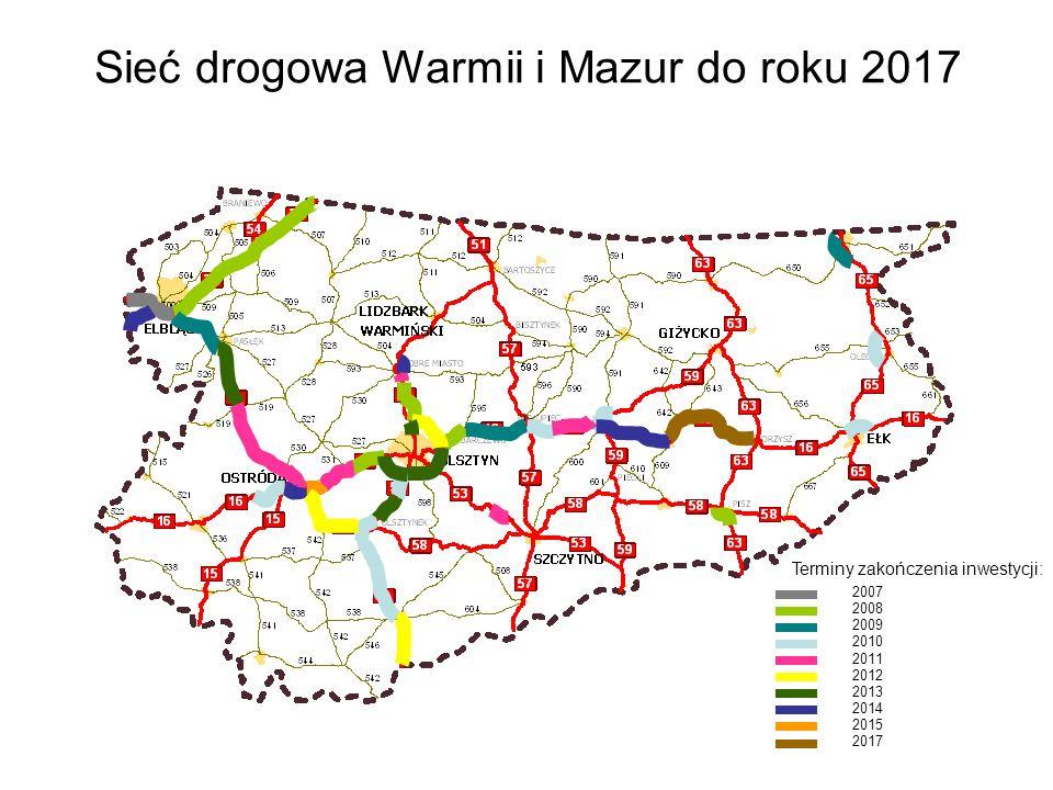 Sieć drogowa Warmii i Mazur do roku 2017