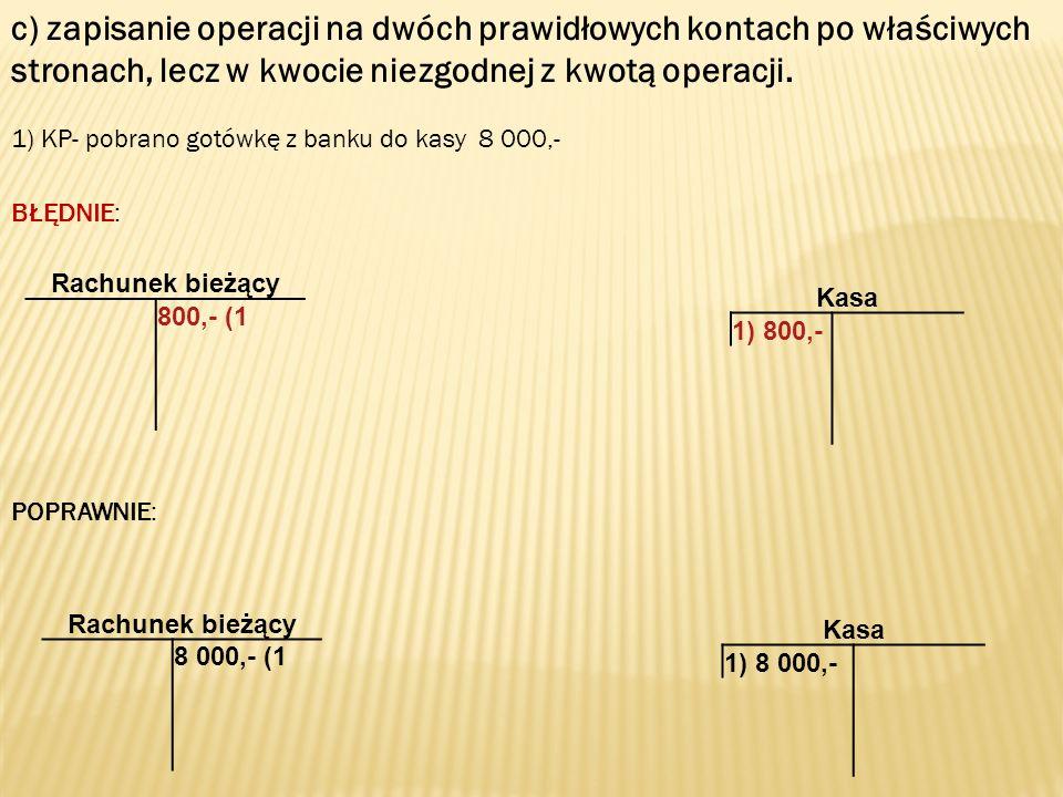 c) zapisanie operacji na dwóch prawidłowych kontach po właściwych stronach, lecz w kwocie niezgodnej z kwotą operacji.