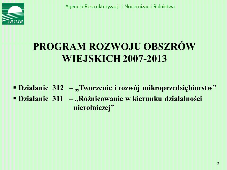 PROGRAM ROZWOJU OBSZRÓW WIEJSKICH 2007-2013