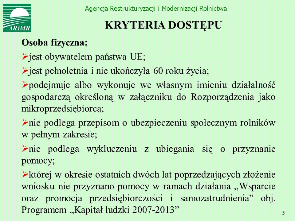 KRYTERIA DOSTĘPU Osoba fizyczna: jest obywatelem państwa UE;