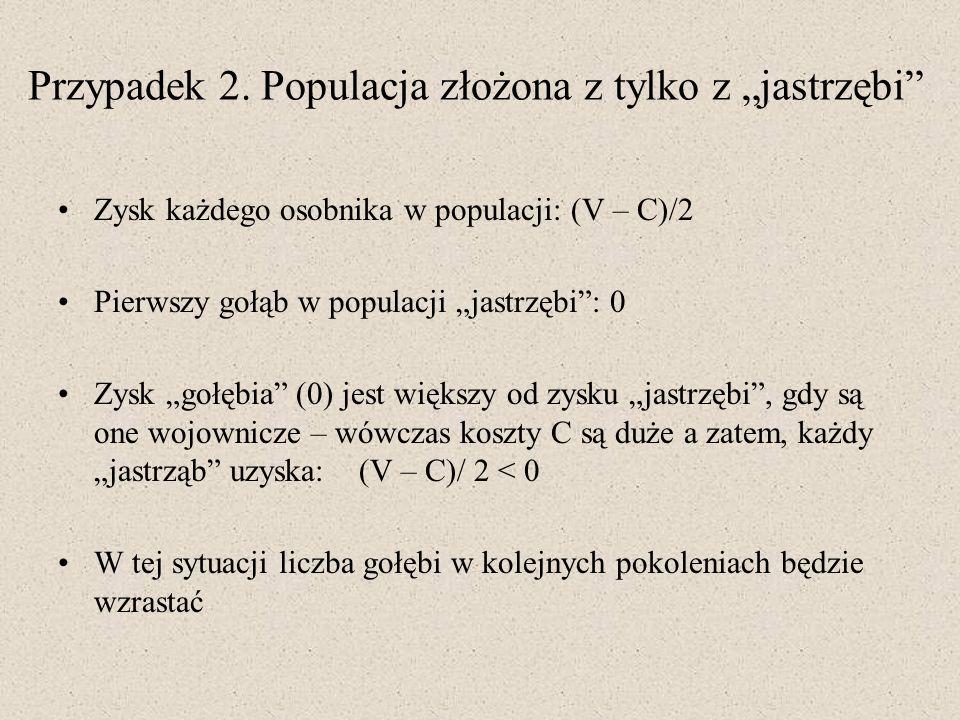 """Przypadek 2. Populacja złożona z tylko z """"jastrzębi"""