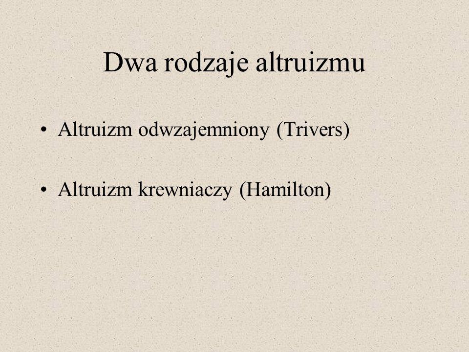 Dwa rodzaje altruizmu Altruizm odwzajemniony (Trivers)