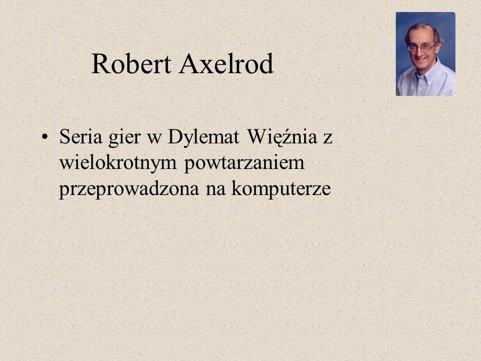 Robert Axelrod Seria gier w Dylemat Więźnia z wielokrotnym powtarzaniem przeprowadzona na komputerze.